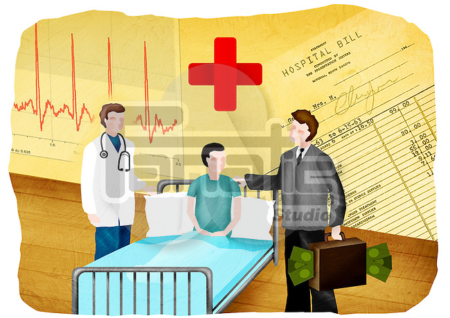 Doctor and a medical insurance agent with a patient in a hospital
