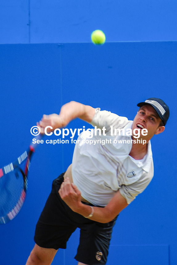 Sam Querry, USA, in action against fellow American, Mardy Fish, who he beat in straight sets 7-6 7-5 in the final of the AEGON Championships at Queen's Club, London, UK, on Sunday, 13 June 2010. Ref: 201006134296..Copyright Image from Victor Patterson, 54 Dorchester Park, Belfast, UK, BT9 6RJ..Tel: +44 28 9066 1296.Mob: +44 7802 353836.Voicemail +44 20 8816 7153.Skype: victorpattersonbelfast.Email: victorpatterson@mac.com.Email: victorpatterson@ireland.com (back-up)..IMPORTANT: If you wish to use this image or any other of my images please go to www.victorpatterson.com and click on the Terms & Conditions. Then contact me by email or phone with the reference number(s) of the image(s) concerned.