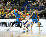 19.03.2019, Mercedes Benz Arena, Berlin, GER, EuroLeague/EuroCup, ALBA ERLIN vs.  MoraBanc Andorra, <br /> im Bild Mokas Giedraitis (ALBA Berlin #31), Martin Hermannsson (ALBA Berlin #15), Andrew Albicy (Andorra #16)<br /> <br />      <br /> Foto &copy; nordphoto / Engler