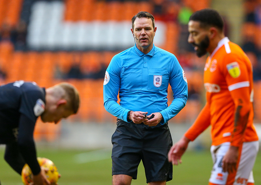 Referee James Linington<br /> <br /> Photographer Alex Dodd/CameraSport<br /> <br /> The EFL Sky Bet League One - Blackpool v Shrewsbury Town - Saturday 19 January 2019 - Bloomfield Road - Blackpool<br /> <br /> World Copyright © 2019 CameraSport. All rights reserved. 43 Linden Ave. Countesthorpe. Leicester. England. LE8 5PG - Tel: +44 (0) 116 277 4147 - admin@camerasport.com - www.camerasport.com