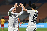 Antonio Candreva of Inter celebrates with Lautaro Martinez after scoring a goal <br /> Milano 13-1-2019 Stadio Giuseppe Meazza <br /> Football Italy Cup 2018/2019 Inter - Benevento <br /> Foto Image Sport  / Insidefoto