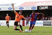 Will Evans of Chesterfield and Lamar Reynolds of Dagenham and Redbridge during Dagenham & Redbridge vs Chesterfield, Vanarama National League Football at the Chigwell Construction Stadium on 15th September 2018