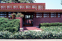 F.L. Wright: Kundert Medical Bldg. Entrance. (Partial elevation)  Photo '85.
