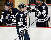 Anthony Day (Yale - 19), Andrew Miller (Yale - 17), Antoine Laganiere (Yale - 28) - The Yale University Bulldogs defeated the Harvard University Crimson 5-1 on Saturday, November 3, 2012, at Bright Hockey Center in Boston, Massachusetts.