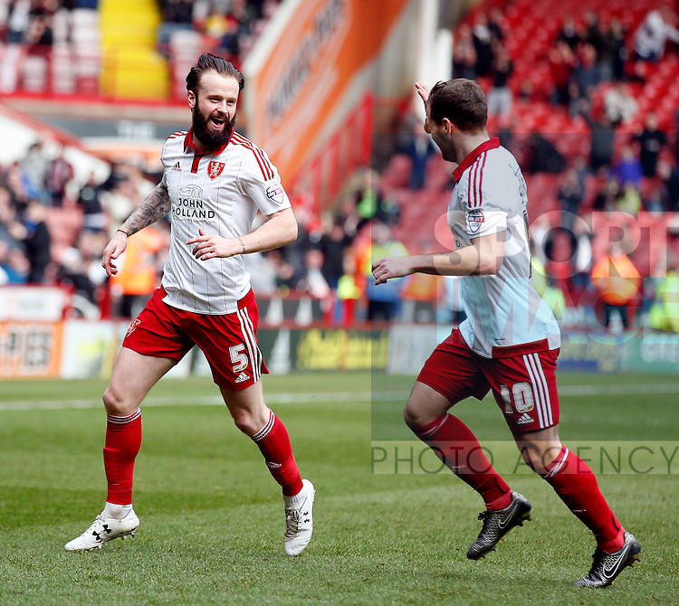 John Brayford of Sheffield Utd celebrates scoring the first goal during the Sky Bet League One match at The Bramall Lane Stadium. Photo credit should read: Simon Bellis/Sportimage
