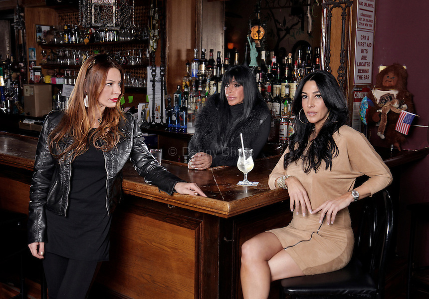 "Cast members of the VH1 reality show Mob Wives pose for a portrait at the Drunken Monkey on Staten Island. From left, Drita D'avanzo, Angela ""Big Ang"" Raiola, and Carla Facciolo...Danny Ghitis for The New York Times"