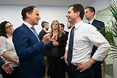 Rabbi Jonah Pesner, director of the Religious Action Center of Reform Judaism, meets with Mayor Pete Buttigieg as he enters a discussion with leaders of the Jewish community at a communal parlor meeting at the offices of Bluelight Strategies in Washington D.C., U.S. on May 23, 2019.<br /> <br /> Credit: Stefani Reynolds / CNP
