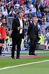 Real Madrid´s coach Carlo Ancelotti and Granada´s coach Abel Resino during 2014-15 La Liga match between Real Madrid and Granada at Santiago Bernabeu stadium in Madrid, Spain. April 05, 2015. (ALTERPHOTOS/Luis Fernandez)
