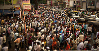 A sea of humanity in Mumbai - Bombay. The crowd has gathered to celebrate a festival in a small suburb.