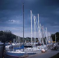 Marina on Bayfield River Bayfield Ontario under Threatening Evening Clouds