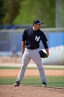 New York Yankees pitcher Kolton Mahoney (10) looks in for the sign during a minor league Spring Training game against the Toronto Blue Jays on March 30, 2017 at the Englebert Complex in Dunedin, Florida.  (Mike Janes/Four Seam Images)