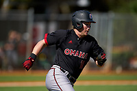 Omaha Mavericks Keil Krumwiede (11) runs to first base during a game against the Dartmouth Big Green on February 23, 2020 at North Charlotte Regional Park in Port Charlotte, Florida.  Dartmouth defeated Omaha 8-1.  (Mike Janes/Four Seam Images)