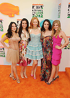 LOS ANGELES, CA - MARCH 31: Romi Dames, Alejandra Reynoso, Molly C. Quinn, Amy Gross and Morgan Decker arrive at the 2012 Nickelodeon Kids' Choice Awards at Galen Center on March 31, 2012 in Los Angeles, California.