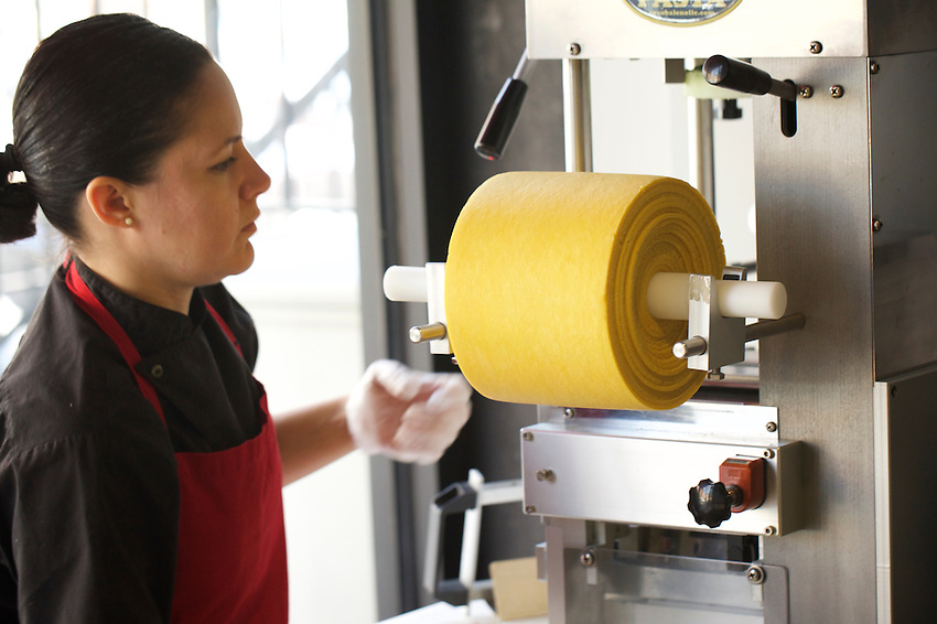 Jersey City, NJ - April 27, 2016: Elena Cartagena, Owner &amp; Sfoglina making pasta at Pasta dal Cuore, a pasta-focused Italian restaurant in Jersey City.<br /> <br /> CREDIT: Clay Williams for Gothamist<br /> <br /> &copy; Clay Williams / claywilliamsphoto.com