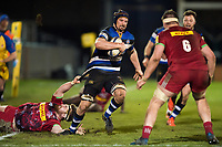Paul Grant of Bath United takes on the Harlequins A defence. Aviva A-League match, between Bath United and Harlequins A on March 26, 2018 at the Recreation Ground in Bath, England. Photo by: Patrick Khachfe / Onside Images