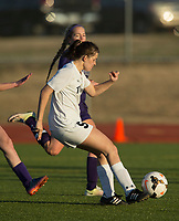 NWA Democrat-Gazette/BEN GOFF @NWABENGOFF<br /> Anna Passmore of Bentonville takes a shot Tuesday, March 13, 2018, during the match against Fayetteville at Bentonville's Tiger Athletic Complex.