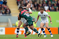 Manu Tuilagi of Leicester Tigers is tackled by Max Clark of Bath Rugby. Aviva Premiership match, between Leicester Tigers and Bath Rugby on September 3, 2017 at Welford Road in Leicester, England. Photo by: Patrick Khachfe / Onside Images