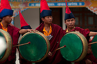 Buddhist Lama Monks with ceremonial drums for Losar in Sikkim India