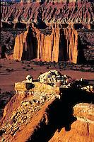 Summerville formation, Curtis Formation, Entrada sandstone formation, slickrock, wilderness, Colorado Plateau, southern Utah. Utah United States Capitol Reef National Park.