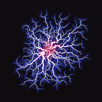 Graphic image - Electric blue plasma tendrils with a red center on a black background. .