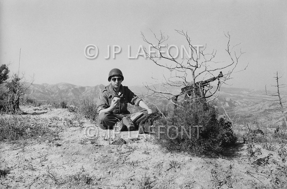 "Mascara Area, Algeria, Summer 1961. Typical French Fort for a small harka unit. This unit counted 48 ""harkis"", Arab origin, fighting along the French troops. Under Lieutenant JP Laffont comanding Officer during a pause at the end of a military operation."