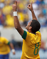 Brazil midfielder Romulo (8) celebrates his goal. In an international friendly (Clash of Titans), Argentina defeated Brazil, 4-3, at MetLife Stadium on June 9, 2012.