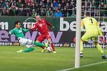 01.12.2018, Weser Stadion, Bremen, GER, 1.FBL, Werder Bremen vs FC Bayern Muenchen, <br /> <br /> DFL REGULATIONS PROHIBIT ANY USE OF PHOTOGRAPHS AS IMAGE SEQUENCES AND/OR QUASI-VIDEO.<br /> <br />  im Bild<br /> Theodor Gebre Selassie (Werder Bremen #23)<br /> <br /> Franck Ribery (FC Bayern Muenchen #07)<br /> Jiri Pavlenka (Werder Bremen #01)<br /> <br /> <br /> Foto &copy; nordphoto / Kokenge