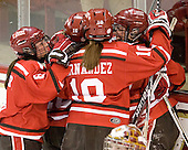Amanda Boulier (SLU - 8), Kelly Sabatine (SLU - 16), Brooke Fernandez (SLU - 10), Karell Emard (SLU - 76) - The Boston College Eagles defeated the visiting St. Lawrence University Saints 6-3 (EN) in their NCAA Quarterfinal match on Saturday, March 10, 2012, at Kelley Rink in Conte Forum in Chestnut Hill, Massachusetts.