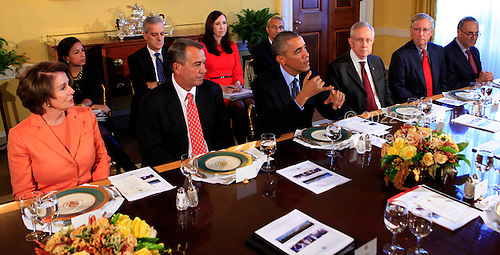 United States President Barack Obama meets with bipartisian congressional leadership in the Old Family Dining Room of the White House in Washington, D.C. on Friday, November 7, 2014. From left to right: U.S. House Minority Leader Nancy Pelosi (Democrat of California), Speaker of the U.S. House John Boehner (Republican of Ohio), President Obama, current U.S. Senate Majority Leader Harry Reid (Democrat of Nevada), future U.S. Senate Majority Leader Mitch McConnell (Republican of Kentucky), and U.S. Senator Charles Schumer (Democrat of New York).  Also visible at left are National Security Advisor Susan E. Rice, Denis McDonough, Assistant to the President, Katie Fallon, Assistant to the President and Director of Legislative Affairs, and Chief of Staff and John Podesta, Counselor to the President.<br /> Credit: Dennis Brack / Pool via CNP
