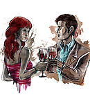 Illustration of young couple with wineglasses over white background