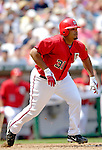 17 June 2006: Daryle Ward (left), first baseman for the Washington Nationals, gets an RBI single against the New York Yankees at RFK Stadium, in Washington, DC. The Nationals overcame a seven run deficit to win 11-9 in the second game of the interleague series...Mandatory Photo Credit: Ed Wolfstein Photo...