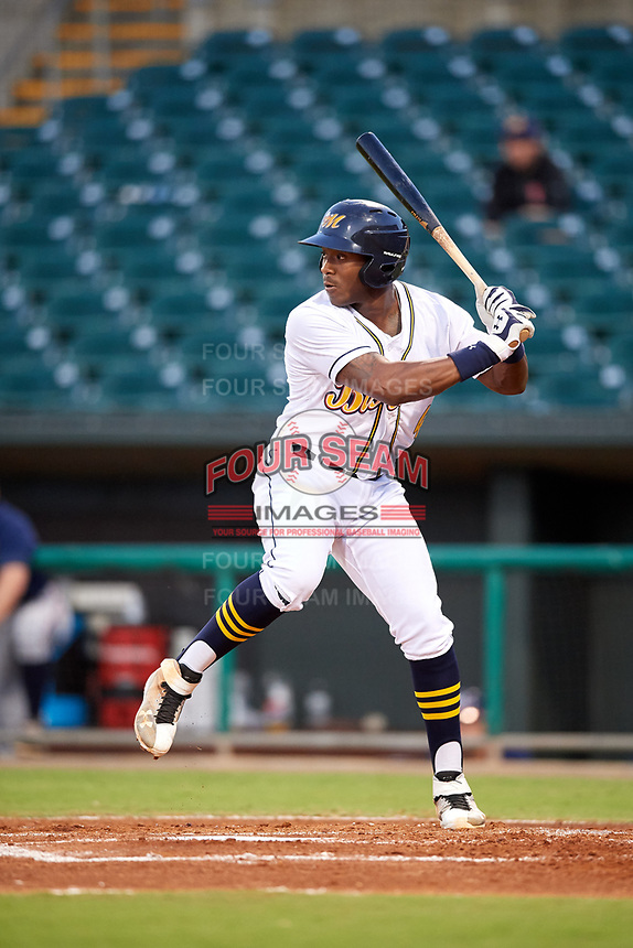 Montgomery Biscuits designated hitter Justin Williams (4) at bat during a game against the Mississippi Braves on April 24, 2017 at Montgomery Riverwalk Stadium in Montgomery, Alabama.  Montgomery defeated Mississippi 3-2.  (Mike Janes/Four Seam Images)