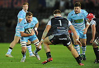 Glasgow Warriors' Callum Gibbins takes on Ospreys' Rhodri Jones<br /> <br /> Photographer Kevin Barnes/CameraSport<br /> <br /> Guinness Pro14 Round 8 - Ospreys v Glasgow Warriors - Friday 2nd November 2018 - Liberty Stadium - Swansea<br /> <br /> World Copyright &copy; 2018 CameraSport. All rights reserved. 43 Linden Ave. Countesthorpe. Leicester. England. LE8 5PG - Tel: +44 (0) 116 277 4147 - admin@camerasport.com - www.camerasport.com