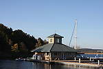 A dockside general store pier and marina on Table Rock Lake Missouri  Power lines stretch across the bay