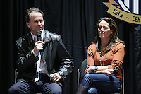 INDIANAPOLIS, IN - January 18, 2013: 1991 World Cup coach Anson Dorrance (left) with 1999 World Cup captain Julie Foudy. U.S. Soccer hosted a World Cup Coaches and Captains panel at the Indiana Convention Center in Indianapolis, Indiana during the NSCAA Annual Convention.