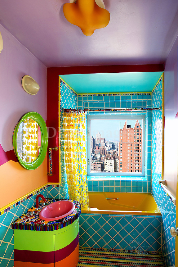 funky colorful bathroom