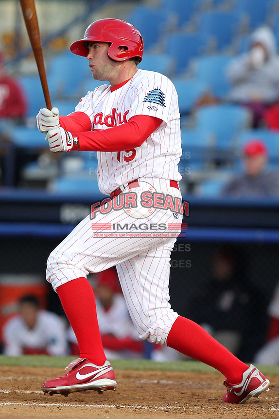 Reading Phillies first baseman Darin Ruf #15 during a game against the New Hampshire Fisher Cats at FirstEnergy Stadium on April 10, 2012 in Reading, Pennsylvania.  New Hampshire defeated Reading 3-2.  (Mike Janes/Four Seam Images)