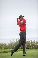 26th January 2020, Torrey Pines, La Jolla, San Diego, CA USA; Tiger Woods hits his driver during the final round of the Farmers Insurance Open at Torrey Pines Golf Club