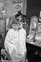 "Dressing up at the ""Hairdresser"", Vittoria Primary School, Islington, London.  1970."