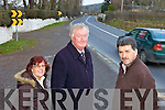 ROUND THE BEND: Funding of EUR500,000 is being allocated for remedial work on a series of bad bends on the N70 at Kilderry. Pictured here are resident Eileen Nichols along with John O'Donoghue TD and Cllr Michael O'Shea.