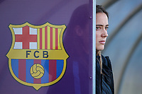 28th March 2018, Mini Estad, Barcelona, Spain; Womens Champions League football, quarter final, 2nd leg, Barcelona Women versus Lyon Women; FC Barcelona player Unzue watches from behind a Barcelona dugout