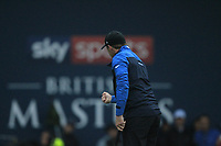 Eddie Pepperell (ENG) sinks his putt on the 18th to win the Sky Sports British Masters at Walton Heath Golf Club in Tadworth, Surrey, England on Sunday 14th Oct 2018.<br /> Picture:  Thos Caffrey | Golffile<br /> <br /> All photo usage must carry mandatory copyright credit (&copy; Golffile | Thos Caffrey)