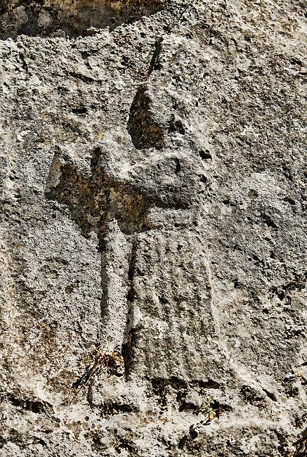Procession of female Gods in the 13th century BC Hittite religious rock carvings of Yazılıkaya Hittite rock sanctuary, chamber A,  Hattusa, Bogazale, Turkey.