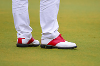 Andy Sullivan (ENG) wearing his color-coordinated red shoes  during round 4 of the Shell Houston Open, Golf Club of Houston, Houston, Texas, USA. 4/2/2017.<br /> Picture: Golffile | Ken Murray<br /> <br /> <br /> All photo usage must carry mandatory copyright credit (&copy; Golffile | Ken Murray)