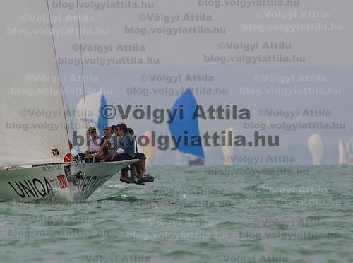Winning ship Brokernet Uniqa (Lisa) captained by 9 times winner Farkas Litkey during the 41st Blue Ribbon Regattta race along the 160 km course around Lake Balaton near Balatonfured, 150 km (93 miles) west of Budapest. Hungary. Friday, 03. July 2009. ATTILA VOLGYI