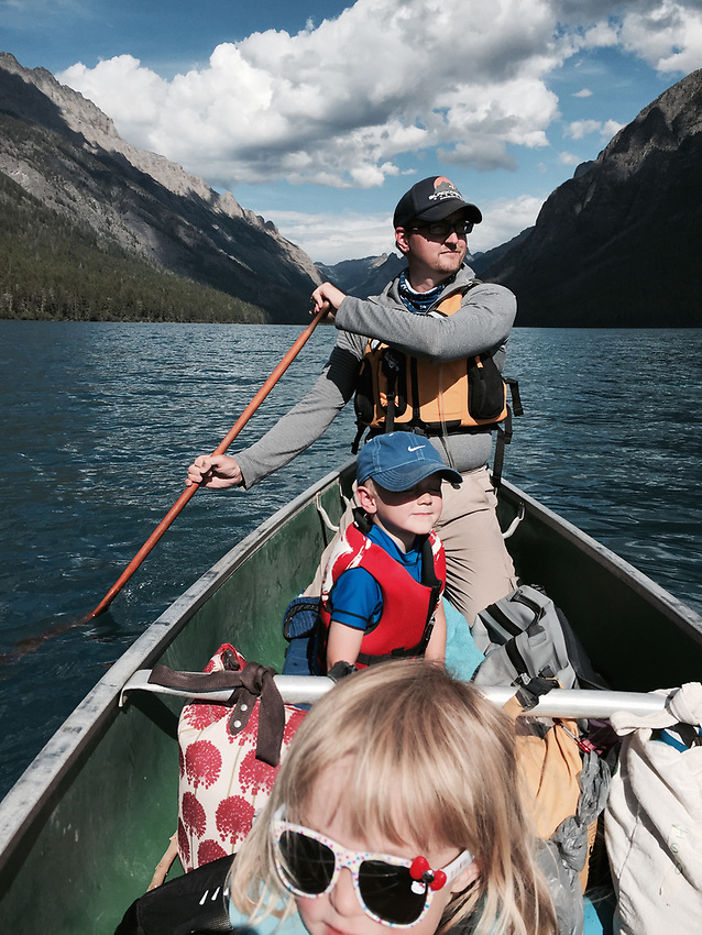 Aaron Peterson and family canoeing at Glacier National Park, Montana.