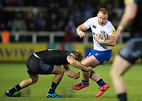Will Hurrell of Bath Rugby is tackled in possession. Aviva Premiership match, between Newcastle Falcons and Bath Rugby on February 16, 2018 at Kingston Park in Newcastle upon Tyne, England. Photo by: Patrick Khachfe / Onside Images