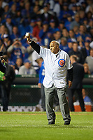 Chicago Cubs Hall of Fame member Billy Williams waves to the crowd before throwing out the ceremonial first pitch before Game 3 of the Major League Baseball World Series against the Cleveland Indians on October 28, 2016 at Wrigley Field in Chicago, Illinois.  (Mike Janes/Four Seam Images)