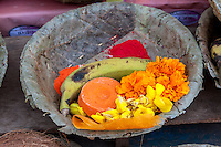 Nepal, Patan.  Offering Baskets at a Hindu Temple.  Flowers, Banana, Kumkuma (Sindoor) Powder.
