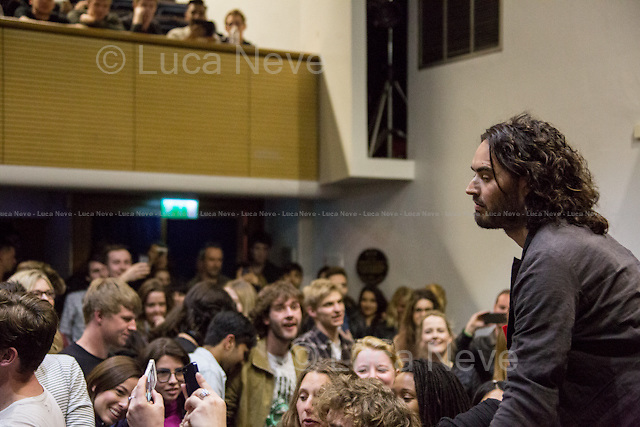 Russell Brand at Occupy LSE the day after his meeting with Labour leader Ed Miliband.<br /> <br /> London, 28/04/2015. Today, OccupyLSE (London School of Economics and Political Studies) - Free University of London presented the film screening of &quot;The Emperor's New Clothes&quot; and the Q&amp;A with Russell Brand (Actor and author of the movie with Michael Winterbottom).<br /> <br /> &quot;Stickers, Posters, Banners, Russell Brand, Occupy Statues, Class War&hellip; An Invisible Electoral Campaign&quot;.<br /> <br /> For more pictures and info about this event please click here: http://bit.ly/1H71ECg